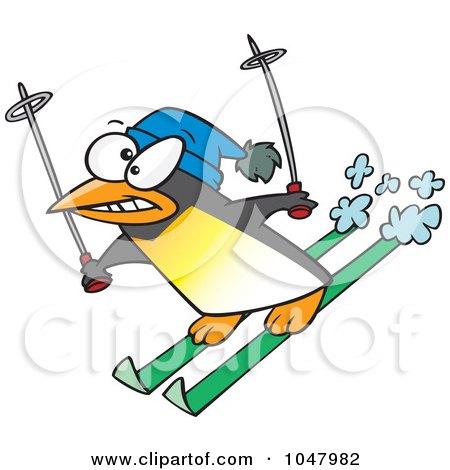 Royalty-Free (RF) Clip Art Illustration of a Cartoon Ski Penguin by toonaday