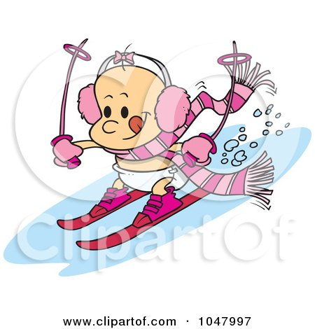 Royalty-Free (RF) Clip Art Illustration of a Cartoon Baby Girl Skiing by toonaday