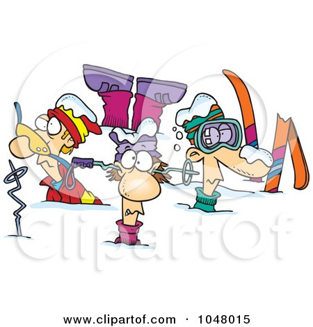 Royalty-Free (RF) Clip Art Illustration of Cartoon Crashed Skiers by toonaday