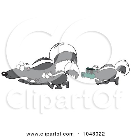Royalty-Free (RF) Clip Art Illustration of a Cartoon Skunk Wearing A Mask And Following Others by toonaday