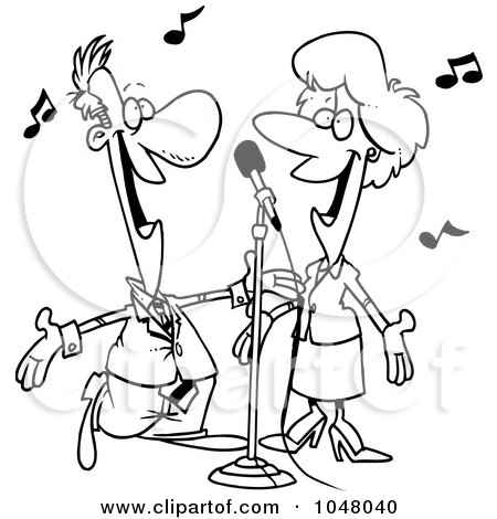 Royalty-Free (RF) Clip Art Illustration of a Cartoon Black And White Outline Design Of A Couple Singing by toonaday