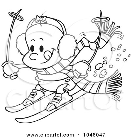 Royalty-Free (RF) Clip Art Illustration of a Cartoon Black And White Outline Design Of A Baby Girl Skiing by toonaday
