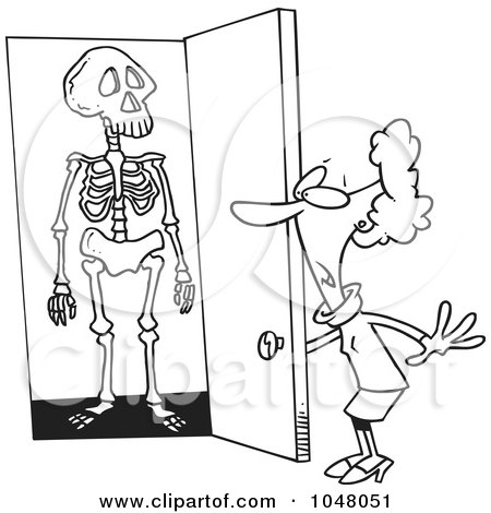 Cartoon Black And White Outline Design Of A Skeleton In Womans Closet By Toonaday