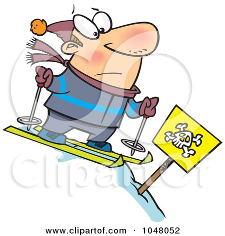 Royalty-Free (RF) Clip Art Illustration of a Cartoon Guy Skiing Down A Dangerous Slope by toonaday
