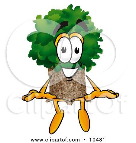 Tree Mascot Cartoon Character Sitting Posters, Art Prints