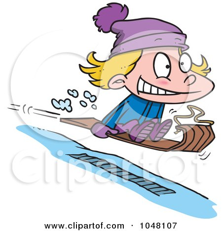 Royalty-Free (RF) Clip Art Illustration of a Cartoon Girl Sledding by toonaday