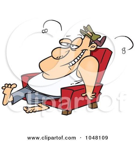 Royalty-Free (RF) Clip Art Illustration of a Cartoon Stinky Lazy Man by toonaday