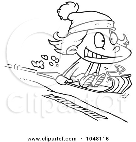 Royalty-Free (RF) Clip Art Illustration of a Cartoon Black And White Outline Design Of A Girl Sledding by toonaday