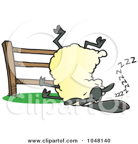Royalty-Free (RF) Clip Art Illustration of a Cartoon Sleepy Sheep By A Fence by toonaday