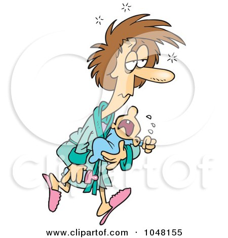 Royalty-Free (RF) Clip Art Illustration of a Cartoon Sleepless Mother Carrying A Crying Baby by toonaday