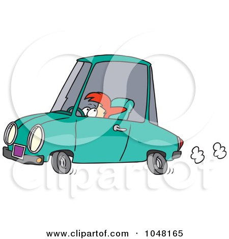 Royalty-Free (RF) Clip Art Illustration of a Cartoon Short Woman Driving by toonaday