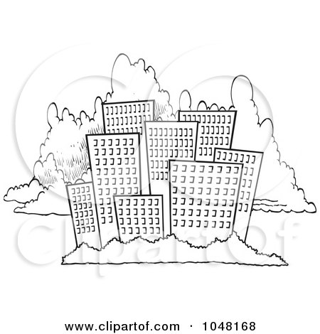 city skyline drawing. white clouds drawing. lack