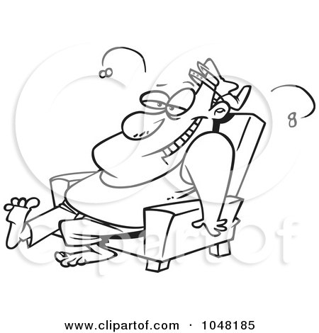 Royalty-Free (RF) Clip Art Illustration of a Cartoon Black And White Outline Design Of A Stinky Lazy Man by toonaday