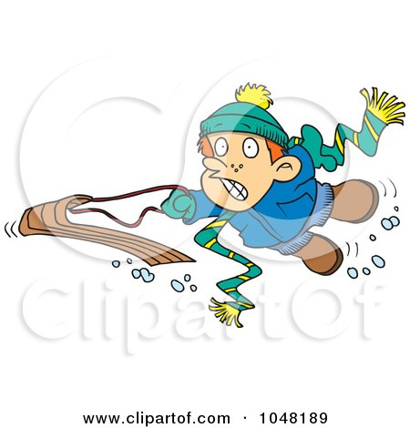 Royalty-Free (RF) Clip Art Illustration of a Cartoon Winter Boy Falling Off His Sled by toonaday