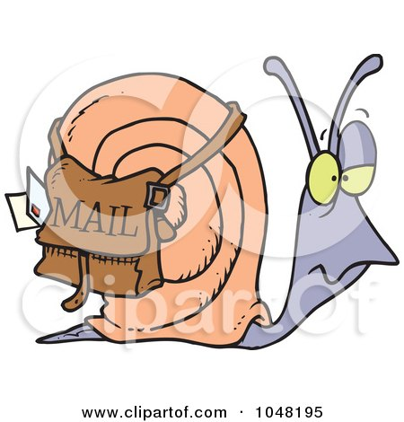 Royalty-Free (RF) Clip Art Illustration of a Cartoon Snail Mail by toonaday