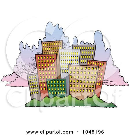 city skyline cartoon. of a Cartoon City Skyline