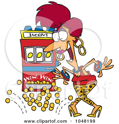 Royalty-Free (RF) Clip Art Illustration of a Cartoon Woman Winning The Jackpot by toonaday