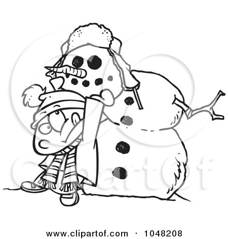 Royalty-Free (RF) Clip Art Illustration of a Cartoon Black And White Outline Design Of A Boy Putting A Head On A Snowman by toonaday