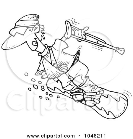 Royalty-Free (RF) Clip Art Illustration of a Cartoon Black And White Outline Design Of An Injured Snowboarder by toonaday