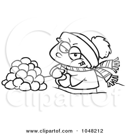 Royalty-Free (RF) Clip Art Illustration of a Cartoon Black And White Outline Design Of A Boy Making Snowballs For A Fight by toonaday