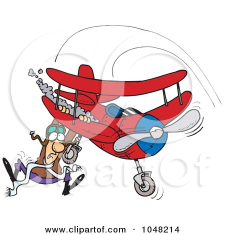 Royalty-Free (RF) Clip Art Illustration of a Cartoon Pilot Hanging On His Biplane by toonaday