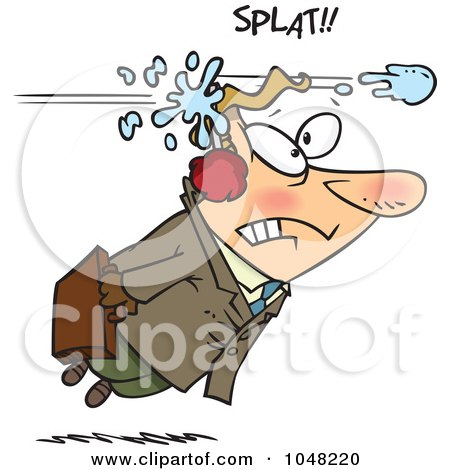 Royalty-Free (RF) Clip Art Illustration of a Cartoon Businessman Being Hit With A Snowball by toonaday