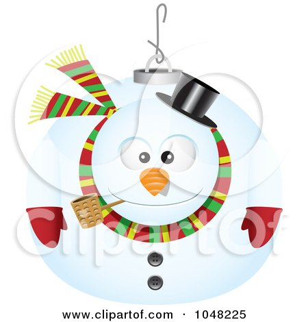 Royalty-Free (RF) Clip Art Illustration of a Cartoon Snowman Ornament by toonaday