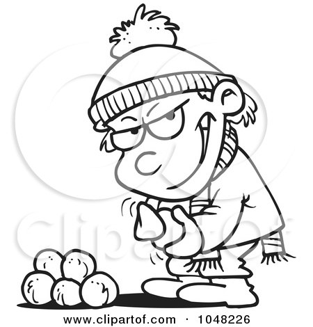 Royalty-Free (RF) Clip Art Illustration of a Cartoon Black And White Outline Design Of A Boy Gathering Snowballs For A Fight by toonaday