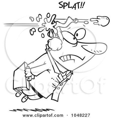 Royalty-Free (RF) Clip Art Illustration of a Cartoon Black And White Outline Design Of A Businessman Being Hit With A Snowball by toonaday