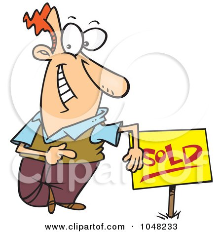 Royalty-Free (RF) Clip Art Illustration of a Cartoon Guy With A Sold Sign by toonaday