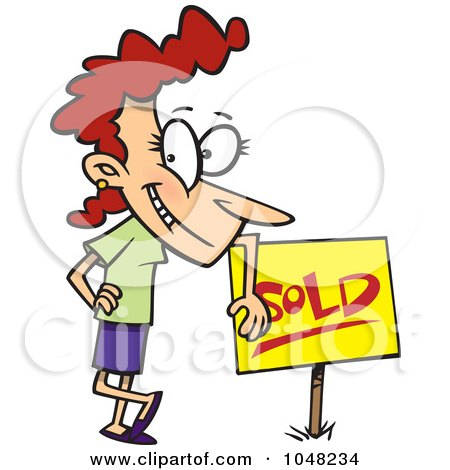 Royalty-Free (RF) Clip Art Illustration of a Cartoon Woman Leaning On A Sold Sign by toonaday