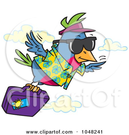 Royalty-Free (RF) Clip Art Illustration of a Cartoon Traveling Bird Flying With Luggage by toonaday