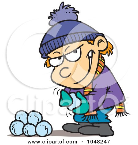 Royalty-Free (RF) Clip Art Illustration of a Cartoon Boy Gathering Snowballs For A Fight by toonaday