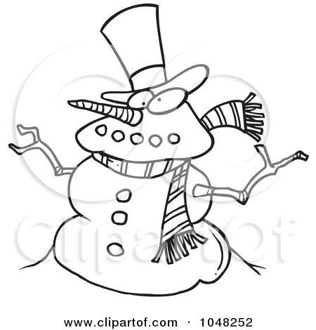 Royalty-Free (RF) Clip Art Illustration of a Cartoon Black And White Outline Design Of A Snowman by toonaday