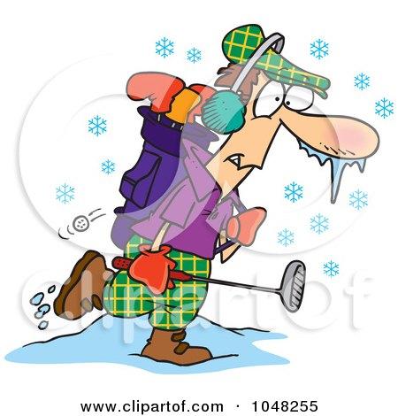 Royalty-Free (RF) Clip Art Illustration of a Cartoon Winter Golfer by toonaday