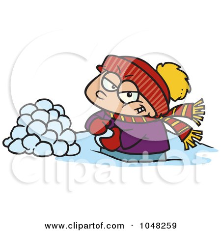Royalty-Free (RF) Clip Art Illustration of a Cartoon Boy Making Snowballs For A Fight by toonaday