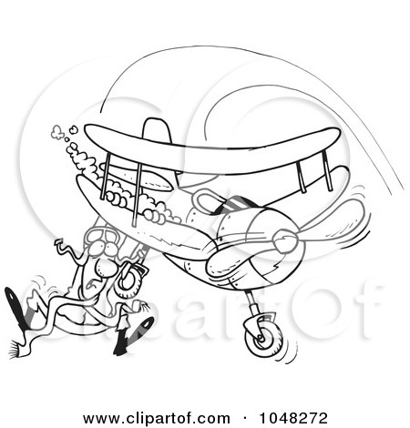Royalty-Free (RF) Clip Art Illustration of a Cartoon Black And White Outline Design Of A Pilot Hanging On His Biplane by toonaday