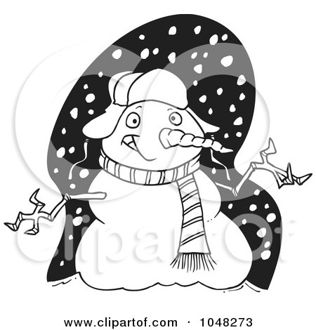 Royalty-Free (RF) Clip Art Illustration of a Cartoon Black And White Outline Design Of A Welcoming Snowman by toonaday