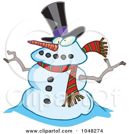 Royalty-Free (RF) Clip Art Illustration of a Cartoon Snowman by toonaday