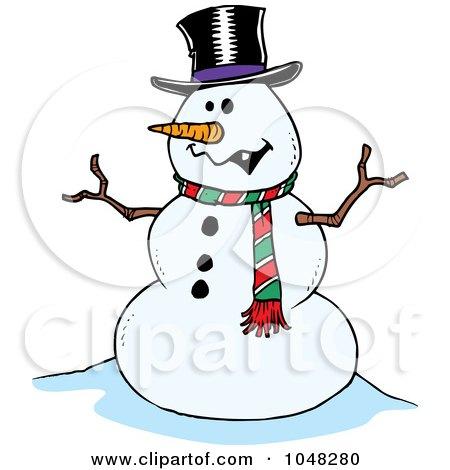 Royalty-Free (RF) Clip Art Illustration of a Cartoon Friendly Snowman by toonaday