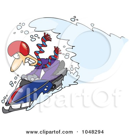 Royalty-free clipart picture of a snow chasing a snowmobiling guy,