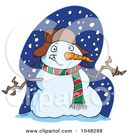 Royalty-Free (RF) Clip Art Illustration of a Cartoon Welcoming Snowman by toonaday