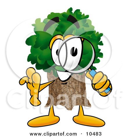 Clipart Picture of a Tree Mascot Cartoon Character Looking Through a Magnifying Glass by Toons4Biz