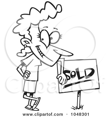Royalty-Free (RF) Clip Art Illustration of a Cartoon Black And White Outline Design Of A Woman Leaning On A Sold Sign by toonaday