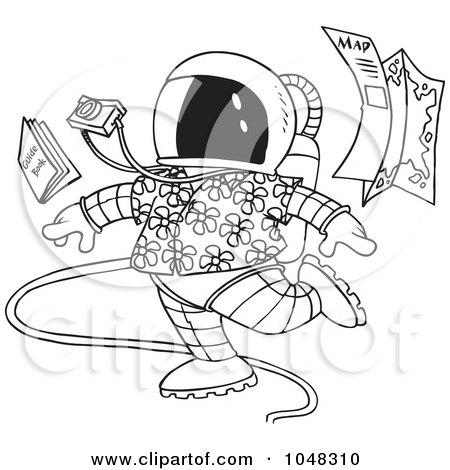 Royalty-Free (RF) Clip Art Illustration of a Cartoon Black And White Outline Design Of A Space Tourist by toonaday