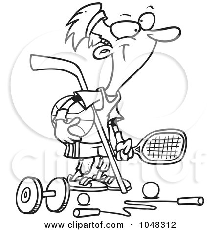 Royalty-Free (RF) Clip Art Illustration of a Cartoon Black And White Outline Design Of A Sporty Guy by toonaday
