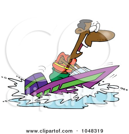 Royalty-Free (RF) Clip Art Illustration of a Cartoon Black Man On A Speed Boat by toonaday