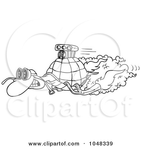 Royalty-Free (RF) Clip Art Illustration of a Cartoon Black And White Outline Design Of A Turbo Tortoise by toonaday