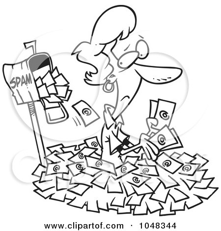 Royalty-Free (RF) Clip Art Illustration of a Cartoon Black And White Outline Design Of A Woman In Spam Mail By A Mailbox by toonaday
