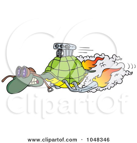 Royalty-Free (RF) Clip Art Illustration of a Cartoon Turbo Tortoise by toonaday